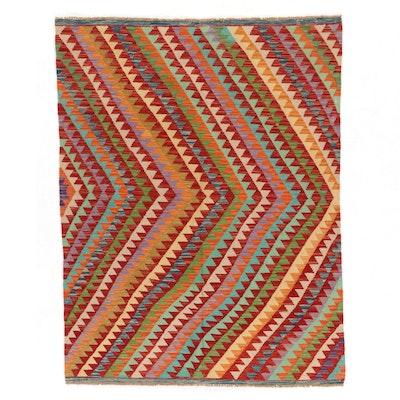 4'10 x 6'3 Handwoven Afghan Kilim Wool Area Rug