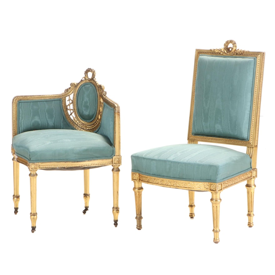 Louis XVI Style Gilded Side and Corner Chairs, Mid-20th Century