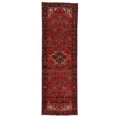 3'2 x 10'1 Hand-Knotted Persian Zanjan Carpet Runner, 1970s