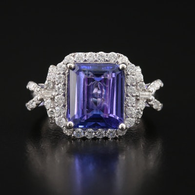 Platinum 3.91 CT Tanzanite and Diamond Halo Ring with Bow Accents