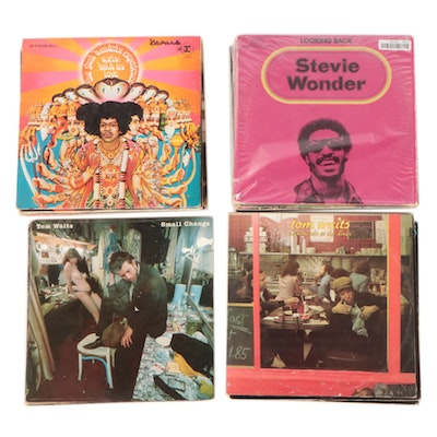 Vinyl Record Albums Featuring Jimi Hendrix, The Band, Tom Waits, and Others