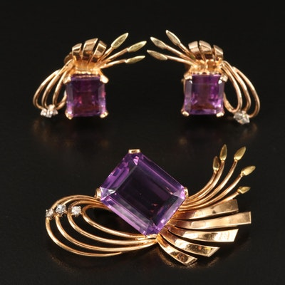 1940s 14K Amethyst Brooch and Earring Set with Diamond Accents