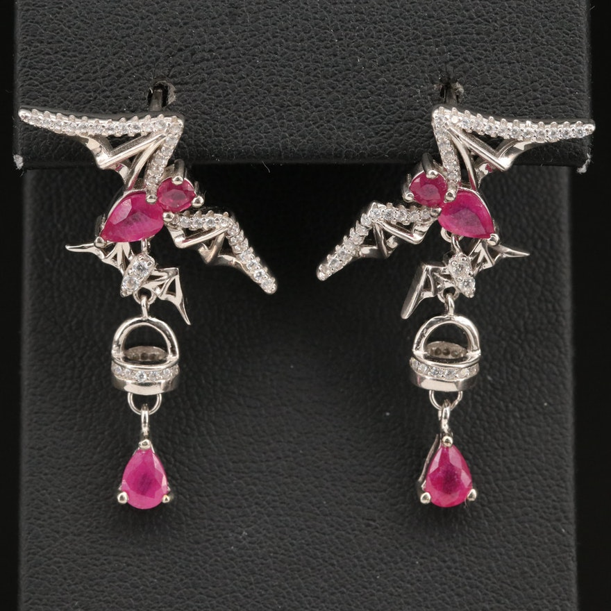 Sterling Flying Bat Earrings with Corundum and Cubic Zirconia
