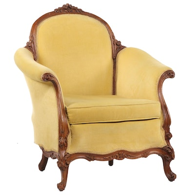 Victorian Style Walnut Upholstered Arm Chair, Early to Mid 20th Century