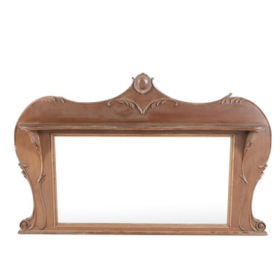 Victorian Walnut Buffet Mirror with Shelf, Early 20th Century