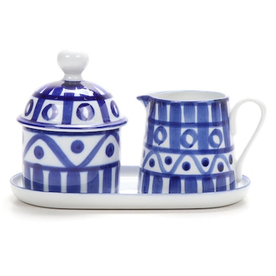 "Dansk ""Arabesque"" Ceramic Cream and Sugar Set"