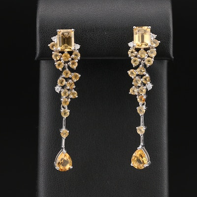 Sterling Citrine and Cubic Zirconia Earrings