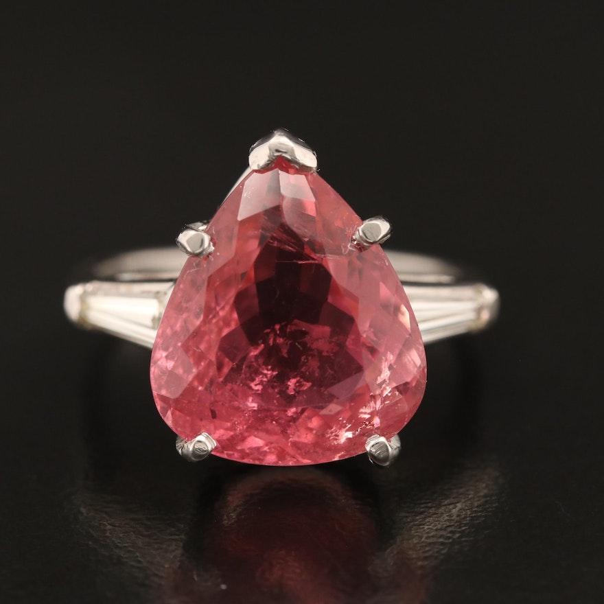 Platinum 10.72 CT Tourmaline and Diamond Teardrop Statement Ring