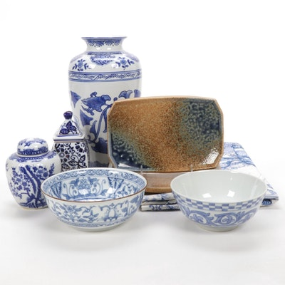 Chinese Blue and White Ginger Jars and Bowls with Other Tableware