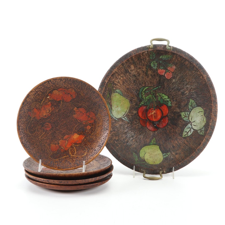 Hand-Painted Pyrography Fruit Bowl with Floral Decorative Dishes