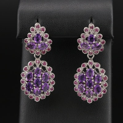 Sterling Amethyst and Rhodolite Garnet Earrings