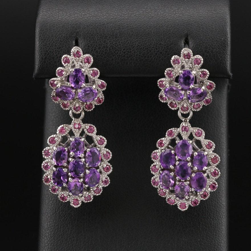 Sterling Amethyst and Rhodolite Garnet Earrings