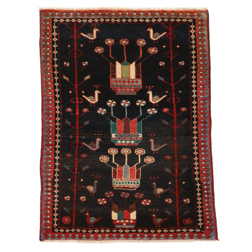 3' x 4' Hand-Knotted Northwest Persian Pictorial Rug, 1970s