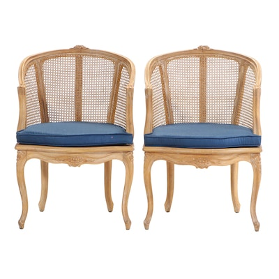 Pair of Louis XV Style Caned Beech Bergères, 20th Century