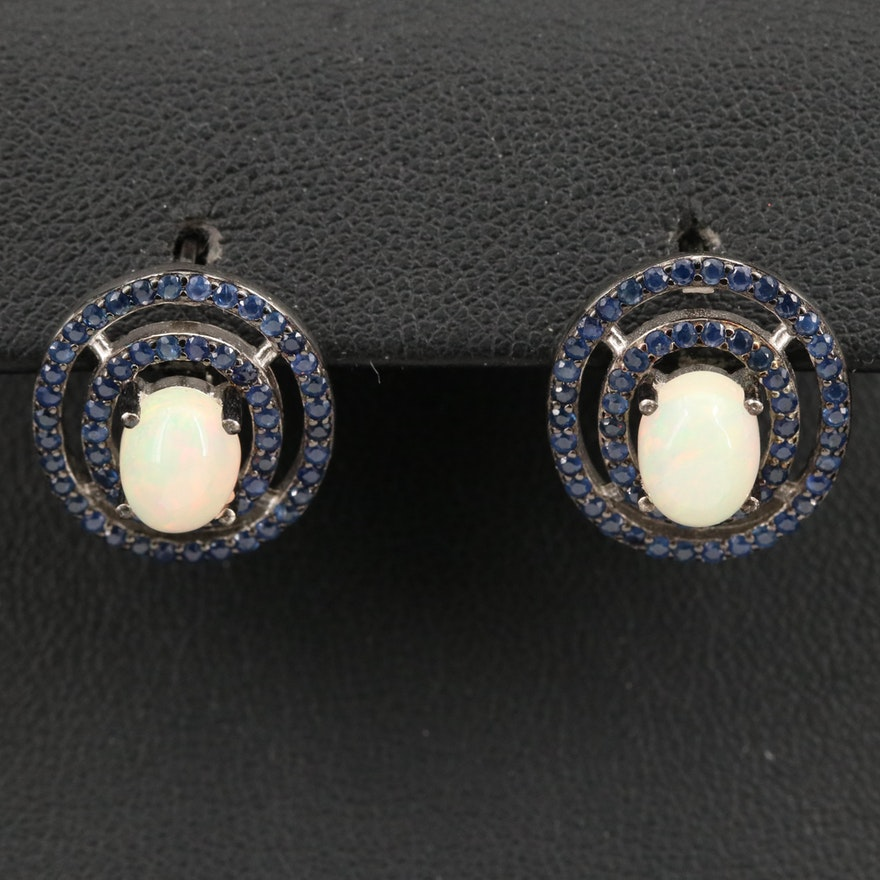 Sterling Opal and Sapphire Double Halo Earrings