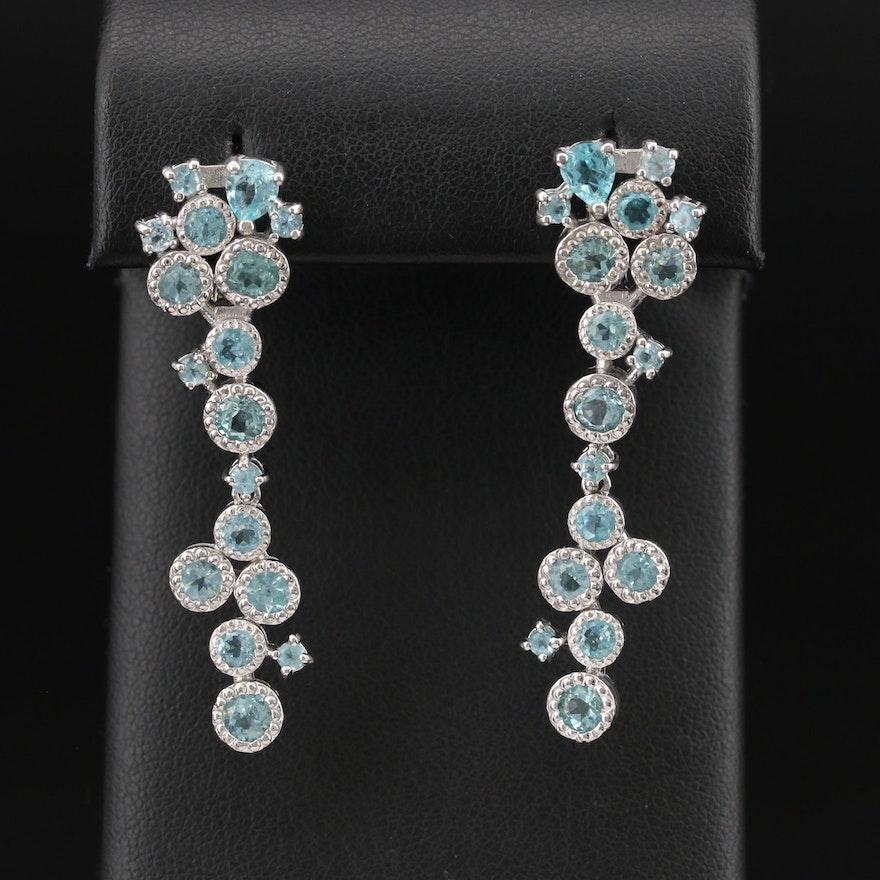 Sterling Apatite Cluster Earrings