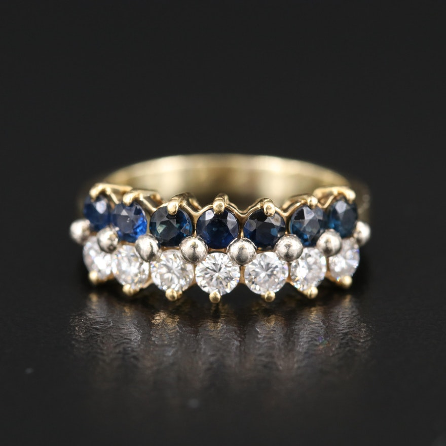 14K Diamond and Sapphire Double Row Ring