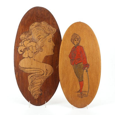Pyrography Carvings of Women Hanging Wall Décor