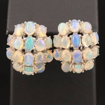 Sterling Opal Button Earrings