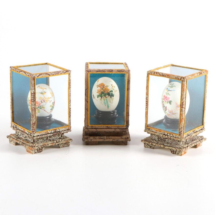Chinese Hand-Painted Eggs in Display Cases