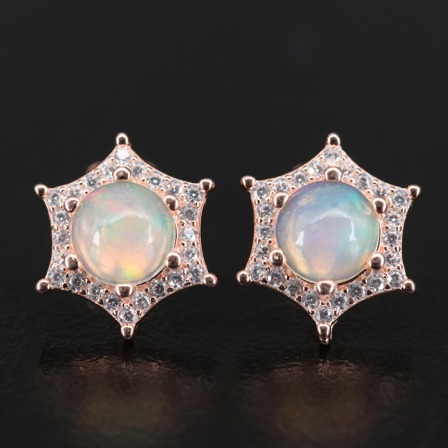 Sterling Opal and Cubic Zirconia Star Stud Earrings