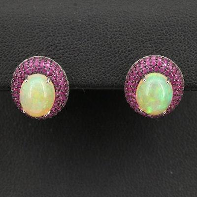 Sterling Opal Earrings with Pavé Ruby Bezel