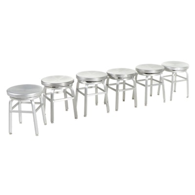 Six Industrial Style Silver Metal Swivel Stools