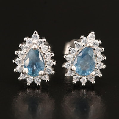 Sterling Sapphire and Cubic Zirconia Teardrop Earrings