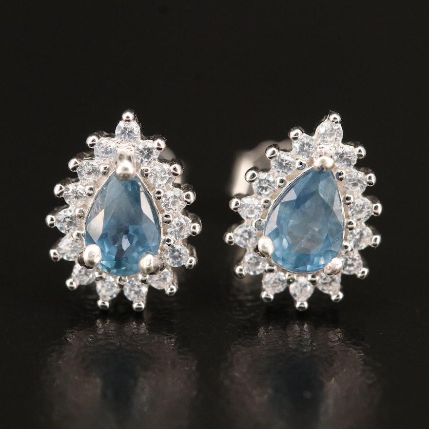 Sterling Sapphire and Cubic Zirconia Teardrop Earrings