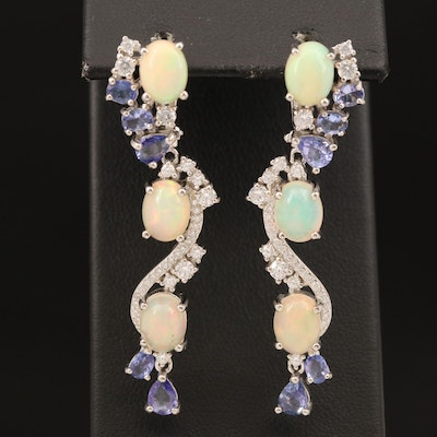 Sterling Opal, Tanzanite and Cubic Zirconia Dangle Earrings