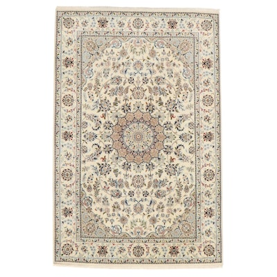6'3 x 9'11 Hand-Knotted Persian Nain Silk Blend Rug, 2000s