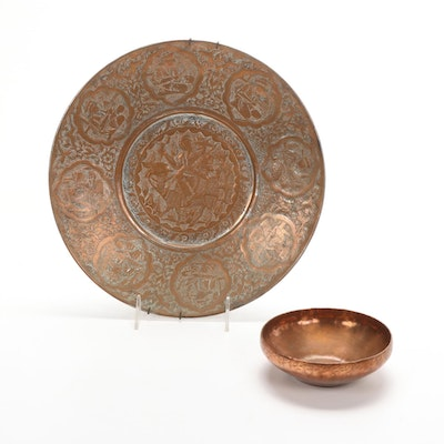 Safavid Style Persian Hand Chased Tinned Copper Plate and Charles Koivu Bowl