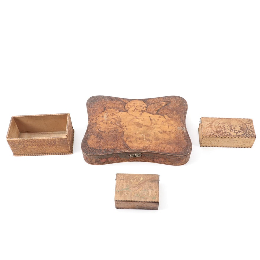 Art Nouveau Style Pyrography Hinged Wooden Boxes