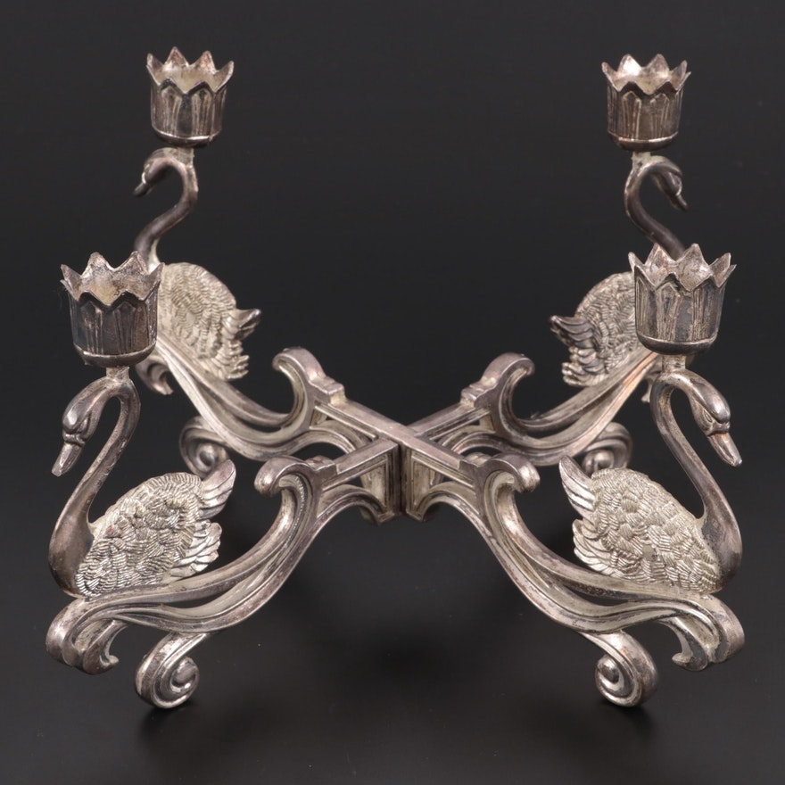 Silver Plate Swan Epergne, Early 20th Century