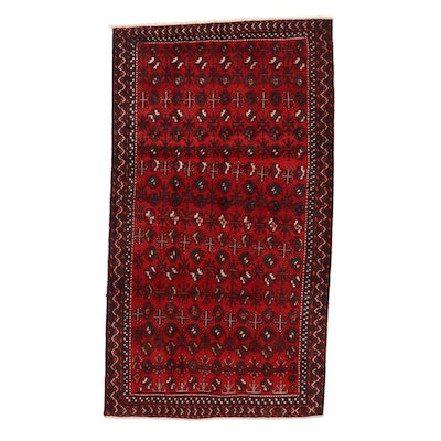 5'4 x 9'7 Hand-Knotted Persian Turkmen Rug, 1970s