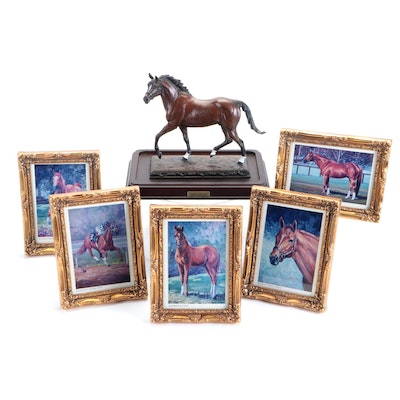 Framed Digital Photographs of Secretariat after Oil Paintings with Figurine