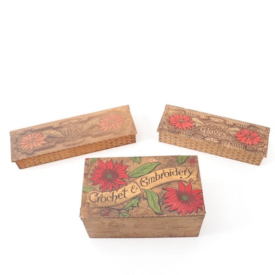 Art Nouveau Pyrography Wooden Embroidery, Glove and Tie Boxes, Early 20th C.