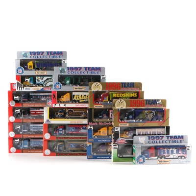 NFL and MLB Diecast Tractor-Trailer Collection