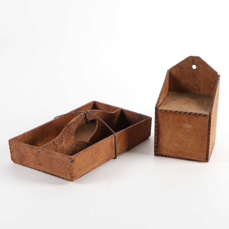 Pyrogravure Wooden Tray and Salt Box, Early 20th Century