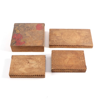 Pyrographic Art Nouveau Wooden Handkerchief Boxes, Early 20th Century