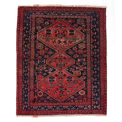 5'2 x 6'6 Hand-Knotted Northwest Persian Kurdish Area Rug