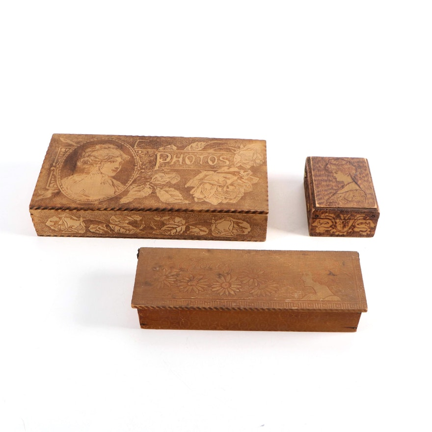 Art Nouveau Pyrography Wood Photos Box and More, Early 20th Century