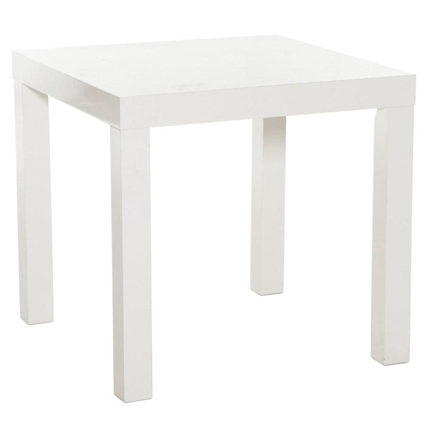 West Elm White Laminate Game Table, 21st Century