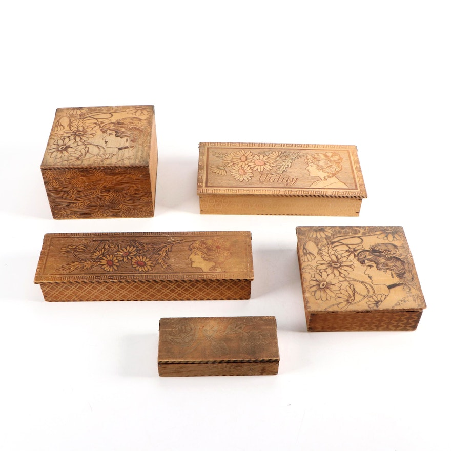 Art Nouveau Pyrography Wooden Tie, Utility and Vanity Boxes, Early 20th C.