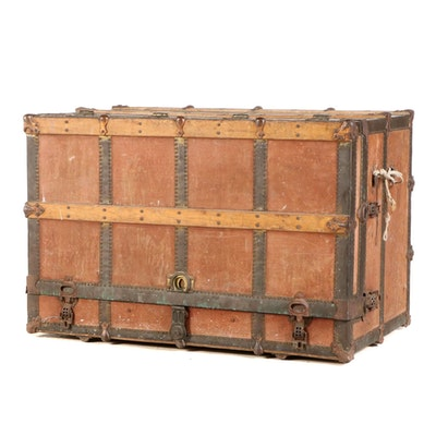 Frank A Stallman Slatted Wood and Metal Dressing Trunk, Mid to Late 19th Century