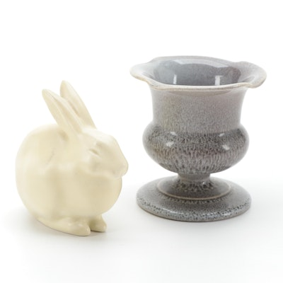 Rookwood Pottery Ceramic Rabbit Paperweight and Urn Cigarette Holder