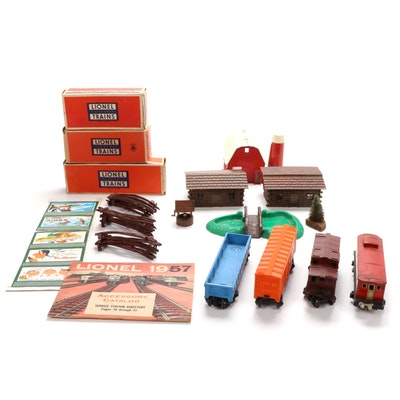 Lionel Railroad Lines Caboose, Tin Litho Car, and Model Railroading Accessories