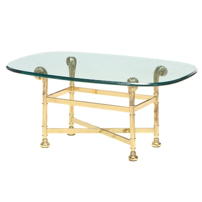 Small Brass and Glass Coffee Table, Late 20th Century