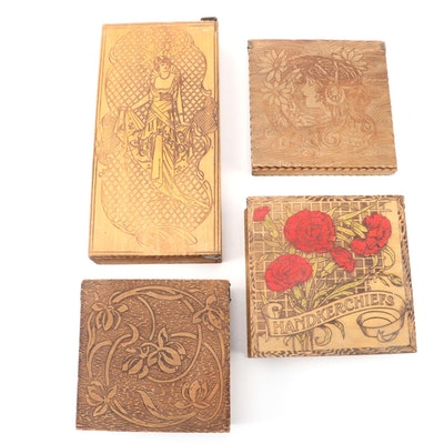 Art Nouveau Pyrography Wooden Handkerchief and Vanity Boxes, Early 20th C.