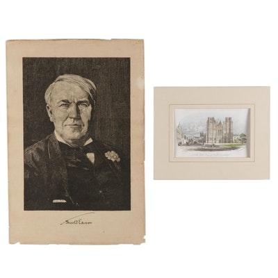 "Lithograph aftter Franklin Booth ""Thomas Edison"" and Hand-Colored Halftone"